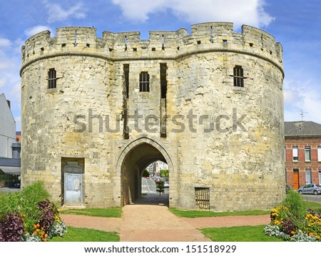 Cambrai, France - Porte de Paris, former Porte Saint-Sepulcre. The gate is the only remaining element of the ramparts, built at the end of the 14th Century. - stock photo