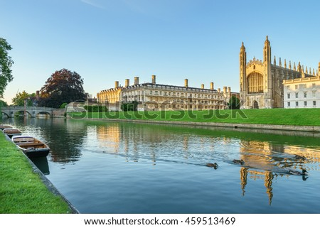 CAMBRIDGE, ENGLAND - JULY 3, 2016. Clare College and King's College Chapel in Cambridge, UK