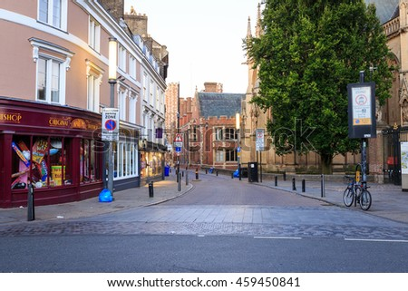 CAMBRIDGE, ENGLAND - JULY 3, 2016.  View of Trumpington Street and The Pitt Building in Cambridge, England. Pitt Building used to be the headquarters of Cambridge University Press.