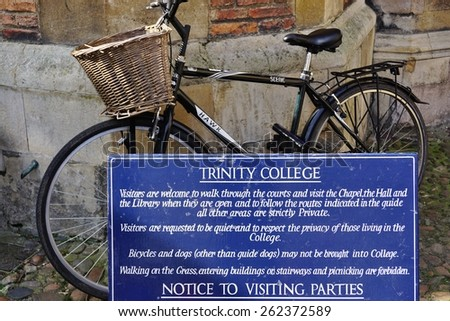 CAMBRIDGE, ENGLAND -15 MARCH 2015- Editorial: Founded in 1546 by King Henry VIII, Trinity College is the largest college at the University of Cambridge and counts about 700 undergraduate students.  - stock photo