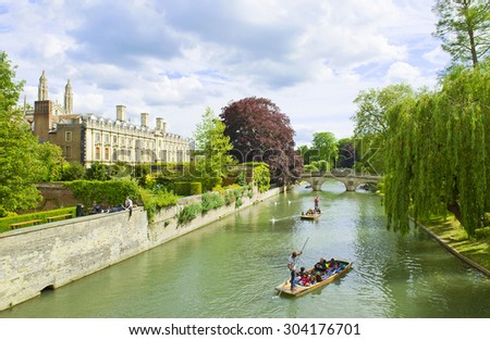 CAMBRIDGE, ENGLAND - MAY 28: Punting on the River Cam on May 28, 2015 in Cambridge - stock photo