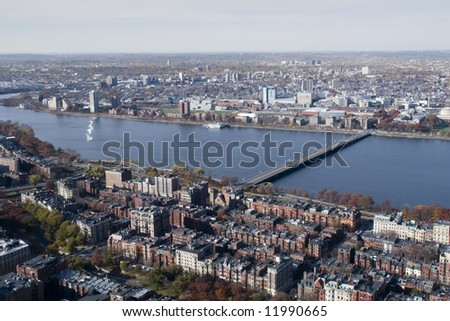 Cambridge, MA, from over the Back Bay of Boston