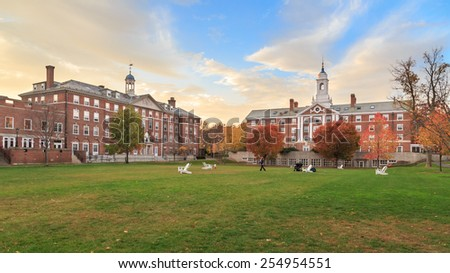 CAMBRIDGE, MA, USA - NOVEMBER 2, 2013: Radcliffe Quad undergrad housing at Harvard University in Fall in Cambridge, MA, USA on November 2, 2013. - stock photo