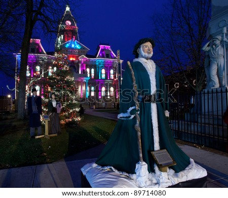 Cambridge Ohio November 24 Christmas Lighting On The Old Court House Building In