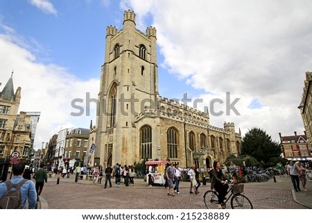 CAMBRIDGE, UK - AUGUST  15, 2014: Great St. Mary's Church. Cambridge is the home of the University of Cambridge, founded in 1209 and ranked one of the world's top five universities  - stock photo