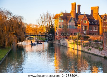 CAMBRIDGE, UK - JANUARY 18, 2015: River Cam and tourist's boats - stock photo