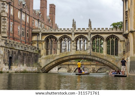 CAMBRIDGE, UK - JULY 24, 2015: Bridge of Sighs of St John's College in the University of Cambridge, England. The college was founded by Lady Margaret Beaufort. - stock photo