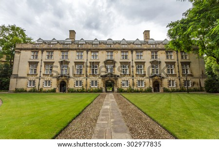 CAMBRIDGE, UK - JULY 23, 2015: Christ's College is a constituent college of the University of Cambridge, officially comprising the Master and Fellows of the College as well as about 600 students. - stock photo