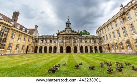 CAMBRIDGE, UK - JULY 22, 2015: Emmanuel College is a constituent college of the University of Cambridge. It was founded in 1584 by Sir Walter Mildmay, Chancellor of the Exchequer to Elizabeth I.