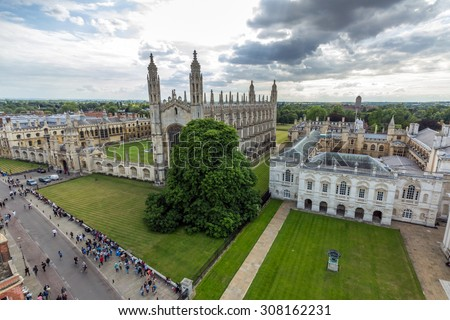 CAMBRIDGE, UK - JULY 23, 2015: View of Cambridge University King's College Chapel and the Old Schools from the top of University Church of St Mary the Great in Cambridge, England. - stock photo