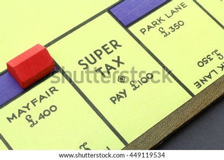 CAMBRIDGE, UK - JULY 07, 2016: Vintage British Monopoly board (Mayfair, Park Lane, and Super Tax) circa 1940 - The game play rewards wealth creation - Illustrative Editorial
