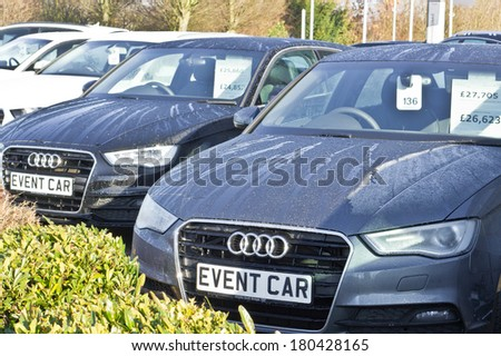 CAMBRIDGE, UK - MARCH 04,2014: New cars at an Audi dealership showroom in Cambridge.