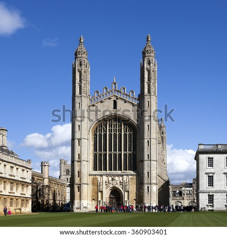 Cambridge, UK - March 22, 2015 - Rear View of The Gibbs' Building and the Chapel of King's College, University of Cambridge. They're also local landmarks of Cambridge.