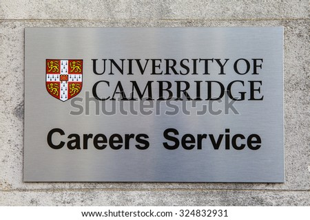 CAMBRIDGE, UK - OCTOBER 4TH 2015: A sign at Cambridge University marking the location of the Careers Advice Centre in Cambridge, on 4th October 2015. - stock photo