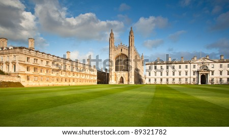 Cambridge University and Kings College Chapel - stock photo