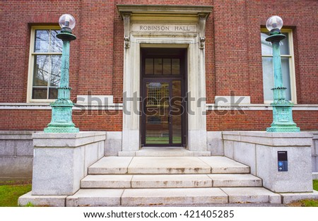 Cambridge, USA - April 29, 2015: Robinson Hall in Harvard Yard of Harvard University in Cambridge, Massachusetts, MA, USA. It is used as a classroom and departmental building.