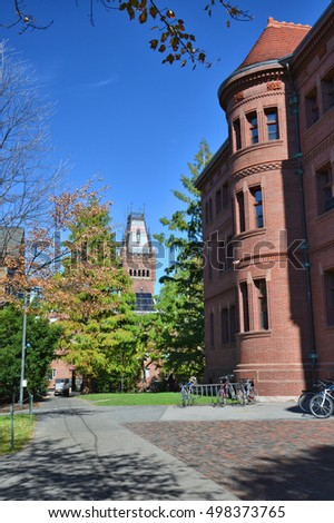 CAMBRIDGE, USA - OCTOBER 20, 2014: Harvard University yard. Harvard is the most prestigious and oldest university in United States