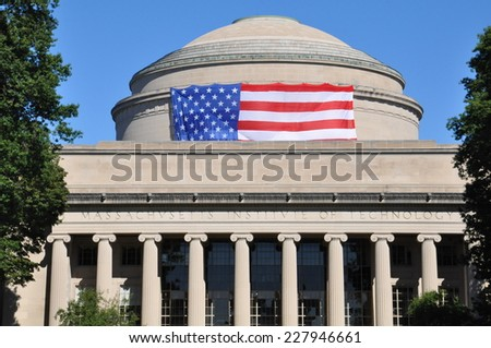 CAMBRIDGE, USA - SEP 14: Panorama of the main building of the famous Massachusetts Institute of Technology in Cambridge, MA, USA showcasing its neoclassic architecture, as seen on Sep 14, 2014. - stock photo