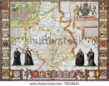 Cambridgeshire old map, from The Theatre of the Empire of Great Britain. Created by John Speed, Published in London, 1611 - stock photo