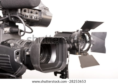 camcorder and light - stock photo