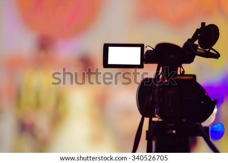 Camcorder at wedding - stock photo