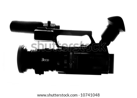 Camcorder for professionals, silhouette on white background - stock photo