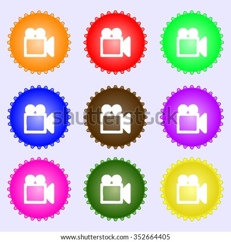 camcorder icon sign. A set of nine different colored labels. illustration - stock photo