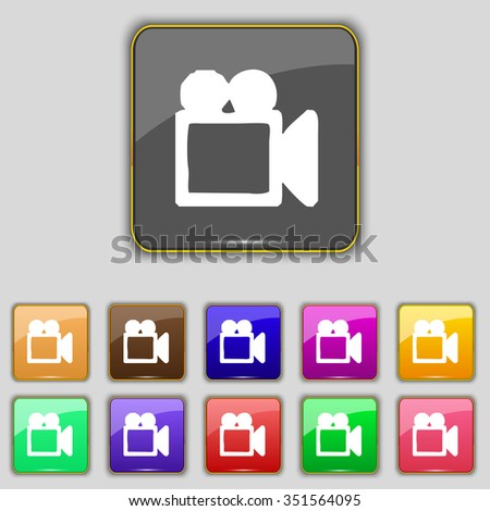 camcorder icon sign. Set with eleven colored buttons for your site. illustration - stock photo