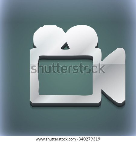 camcorder icon symbol. 3D style. Trendy, modern design with space for your text illustration. Raster version - stock photo