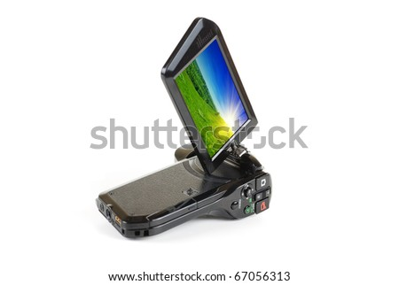 camcorder isolated on a white background - stock photo