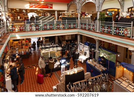CAMDEN, LONDON - FEBRUARY 24: Interior of 'Lower Market Hall' at Camden Market. In Camden, London, England. On 24th February 2017.
