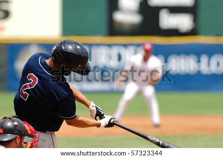 CAMDEN, NJ - JULY 15: Somerset Patriots infielder David Housel swings at a pitch during the game on July 15, 2010 in Camden, NJ. - stock photo