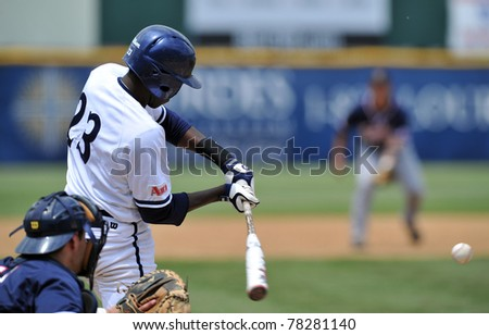 CAMDEN, NJ - MAY 25: Xavier batter Selby Chidemo swings at a pitch during an Atlantic 10 baseball tournament game against Richmond May 25, 2011 in Camden, NJ. - stock photo