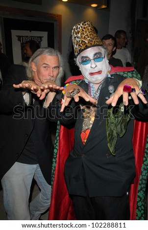 """Camden Toy and Count Smokula at a midnight movie screening of Rena Riffel's """"Trasharella"""" as part of the  Vampire-Con Film Festival, New Beverly Cinema, Los Angeles, CA. 06-25-10 - stock photo"""