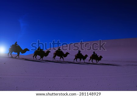Camel caravan going through the sand dunes in early morning - stock photo