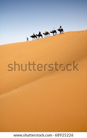 Camel caravan in the Moroccan Sahara - stock photo