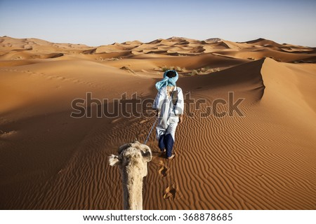 Camel caravan on the Sahara desert
