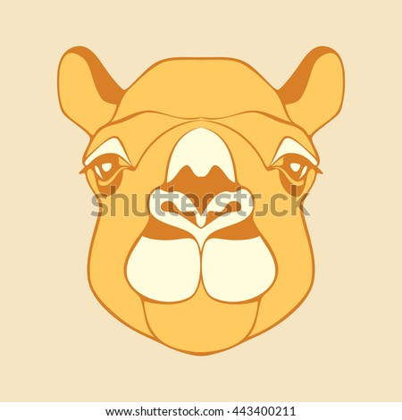 Camel. Head of a camel. Camel's head. Head of the animal with a detailed drawing of parts of the face. Camel head yellow, brown, white color. Camel looking directly at you. Cartoon camel. Animal logo. - stock photo
