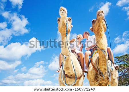 camel ride on wedding day - focus on faces - stock photo