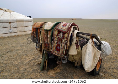 Camel saddles outside a ger in the Gobi Desert in southern Mongolia - stock photo