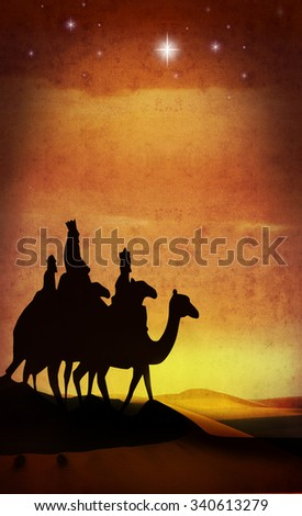 camels and star grunge - stock photo