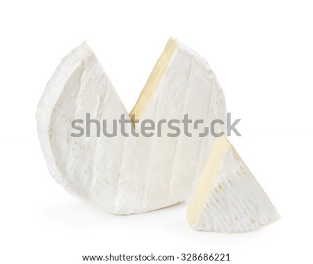 Camembert cheese isolated on a white background - stock photo
