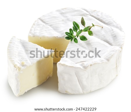 Camembert cheese isolated on a white background. Clipping path. - stock photo