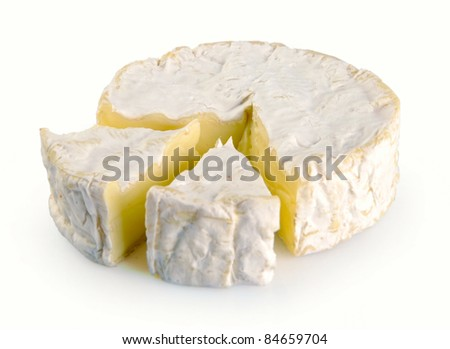 camembert cheese on a white background