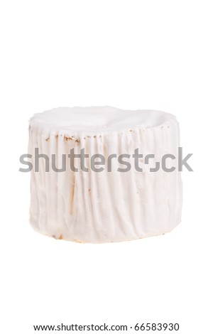 Camembert round cheese chunk isolated over white background.