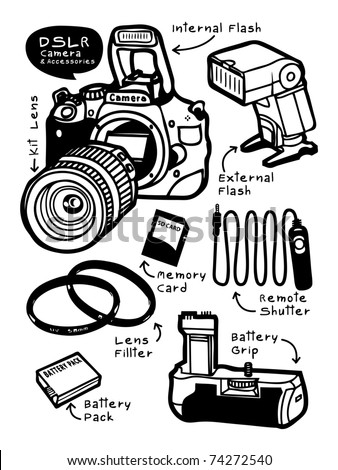 Camera and Accessories - stock photo