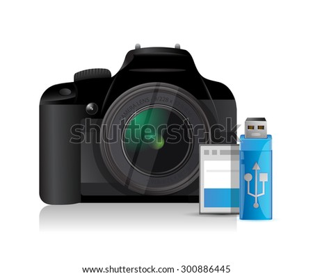 camera and content storage objects illustration design graphic