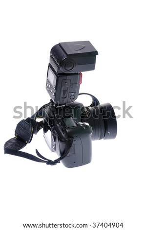 Camera and flash lamp on white background