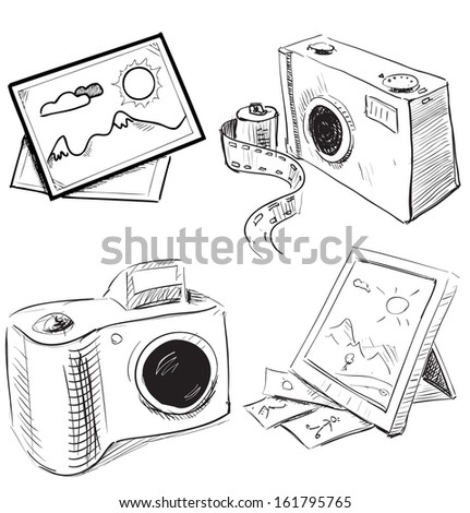 Camera and picture icons set. Hand drawing sketch illustration - stock photo