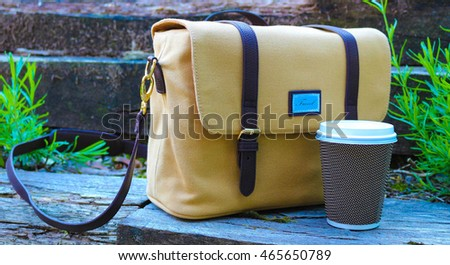 Camera bag with coffee